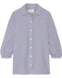 The Great - The Easy Button Up Striped Cotton-poplin Shirt - Lyst