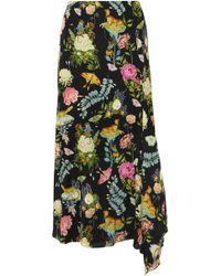 Vilshenko - Eliza Asymmetric Printed Silk Midi Skirt - Lyst