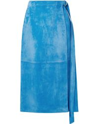 Sally Lapointe - Belted Wrap-effect Suede Midi Skirt - Lyst