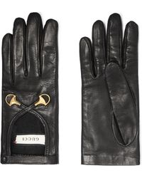Gucci - Horsebit-detailed Leather Gloves - Lyst