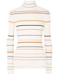 SJYP - Striped Ribbed-knit Turtleneck Jumper - Lyst