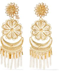 Mercedes Salazar | Fiesta Tasselled Gold-plated Pearl Clip Earrings | Lyst