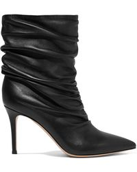 Gianvito Rossi - Cecile 85 Ruched Leather Ankle Boots - Lyst