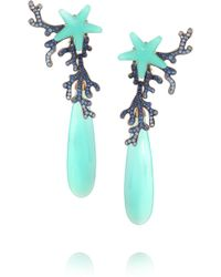 Lydia Courteille | 18-karat White Gold, Sapphire And Agate Earrings | Lyst