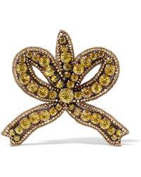 Gucci - Gold-tone Crystal Brooch - Lyst
