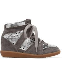 Isabel Marant - Bobby Perforated Metallic Leather And Suede Wedge Trainers - Lyst