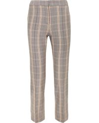 Maje - Checked Woven Slim-leg Trousers - Lyst
