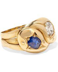 Fred Leighton - 1900s 18-karat Gold, Diamond And Sapphire Ring - Lyst