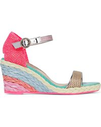Sophia Webster - Lucita Leather-trimmed Woven Canvas Espadrille Wedge Sandals - Lyst