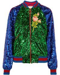 Gucci - Sequin Embellished Bomber Jacket - Lyst