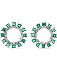Ileana Makri - Sun 18-karat White Gold, Emerald And Diamond Earrings - Lyst