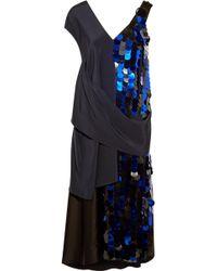 Diane von Furstenberg - Embellished Crepe And Silk-satin Midi Dress - Lyst