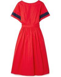 TOME - Dirndl Striped Cutout Cotton-poplin Dress - Lyst