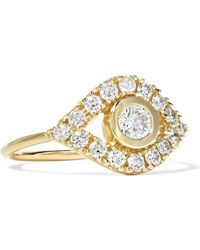 Sydney Evan - Evil Eye 14-karat Gold Diamond Ring - Lyst