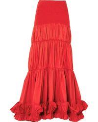 Johanna Ortiz - Fleur De Geisha Ruffled Cotton-blend Maxi Skirt - Lyst