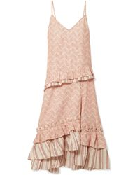 lemlem - Imani Ruffled Embroidered Cotton And Silk-blend Gauze Midi Dress - Lyst