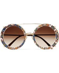 Dolce & Gabbana - Round-frame Printed Acetate And Gold-tone Convertible Sunglasses - Lyst