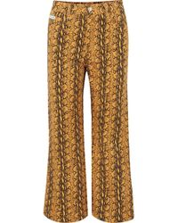 ALEXACHUNG - Cropped Snake-print High-rise Wide-leg Jeans - Lyst