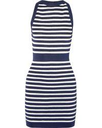 Balmain - Striped Stretch-knit Mini Dress - Lyst