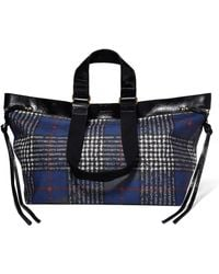 Isabel Marant - Wardy Patent Leather-trimmed Tartan Coated-canvas Tote - Lyst