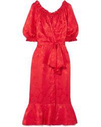 Saloni - Olivia Wrap-effect Silk-satin Jacquard Midi Dress - Lyst