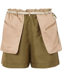 Valentino | Layered Silk-crepe And Hammered-satin Shorts | Lyst