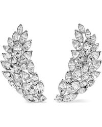 Kenneth Jay Lane - Silver-tone Crystal Clip Earrings - Lyst