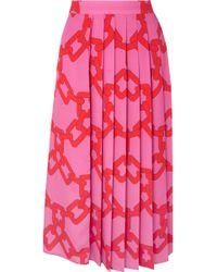 MSGM - Pleated Printed Crepe Midi Skirt - Lyst