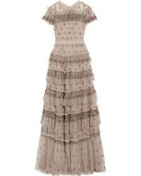Needle & Thread - Andromeda Ruffled Embellished Tulle Gown - Lyst