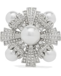 Kenneth Jay Lane - Rhodium-plated, Faux Pearl And Crystal Brooch - Lyst