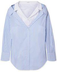 ADEAM - Layered Striped Cotton-poplin Shirt - Lyst