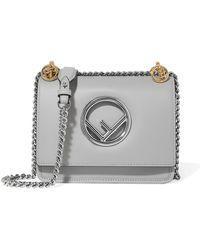 Fendi Kan I Mini Leather Shoulder Bag in Gray - Lyst 216af92a4dc56