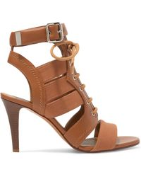 Chloé - Rylee Cutout Leather And Canvas Sandals - Lyst