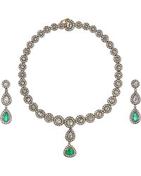 Amrapali - 18-karat Gold, Sterling Silver, Diamond And Emerald Necklace And Earrings Set - Lyst