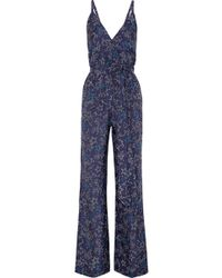Paloma Blue - Eclipse Printed Silk Crepe De Chine Jumpsuit - Lyst