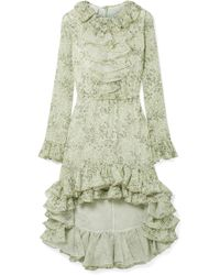 Giambattista Valli - Asymmetric Ruffled Printed Silk-georgette Dress - Lyst