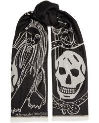 Alexander McQueen - Fringed Printed Wool Scarf - Lyst