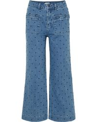 Ulla Johnson - Niko Embroidered Polka-dot High-rise Flared Jeans - Lyst