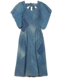 Junya Watanabe - Bow-detailed Patchwork Denim Midi Dress - Lyst