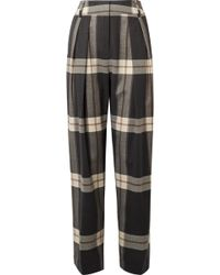 By Malene Birger | Lorrany Checked Felt Wide-leg Pants | Lyst