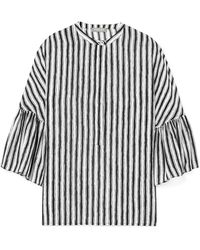 Michael Kors - Striped Silk-crepe Blouse - Lyst