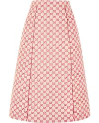 Gucci - Printed Cotton-blend Canvas Midi Skirt - Lyst