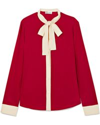 RED Valentino - Pussy-bow Two-tone Silk Crepe De Chine Blouse - Lyst