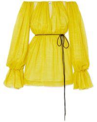 Mugler - Off-the-shoulder Metallic Silk-blend Chiffon Mini Dress - Lyst