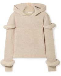 JW Anderson - Hooded Ribbed Wool And Alpaca-blend Sweater - Lyst