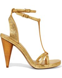 Burberry - Studded Metallic Textured-leather Sandals - Lyst