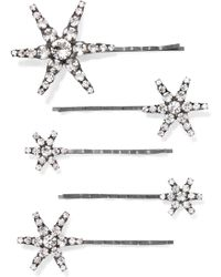 Jennifer Behr - Vespera Set Of Five Gunmetal-tone Crystal Hair Slides - Lyst