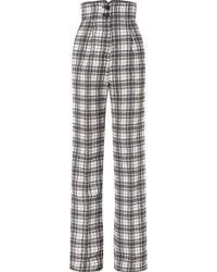 Antonio Berardi - Checked Crepe Wide-leg Pants - Lyst