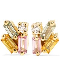 Suzanne Kalan - 18-karat Gold, Sapphire And Diamond Earrings - Lyst