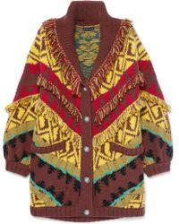 Etro - Oversized Fringed Wool-blend Cardigan - Lyst